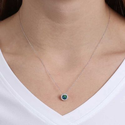 Round Opal Doublet & Diamond Necklace 14K
