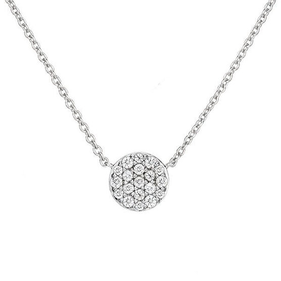 Pavé Diamond Circle Necklace 14K