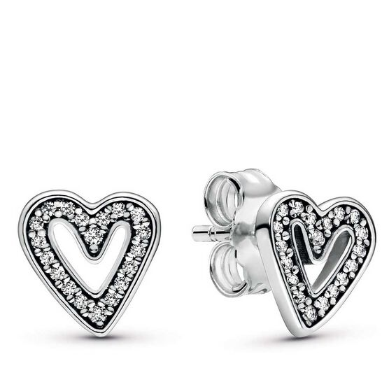 Pandora Sparkling Freehand CZ Heart Stud Earrings