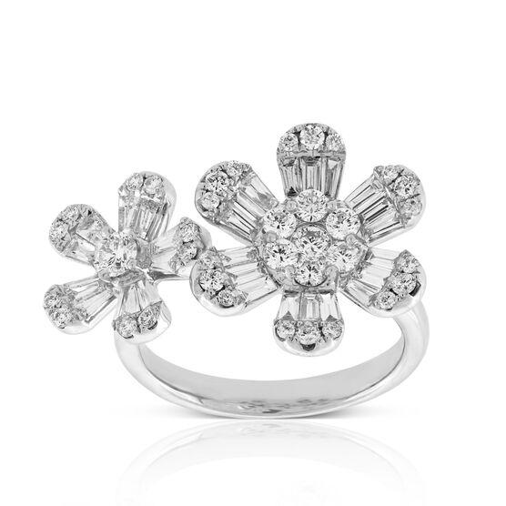 Double Flower Diamond Ring 14K