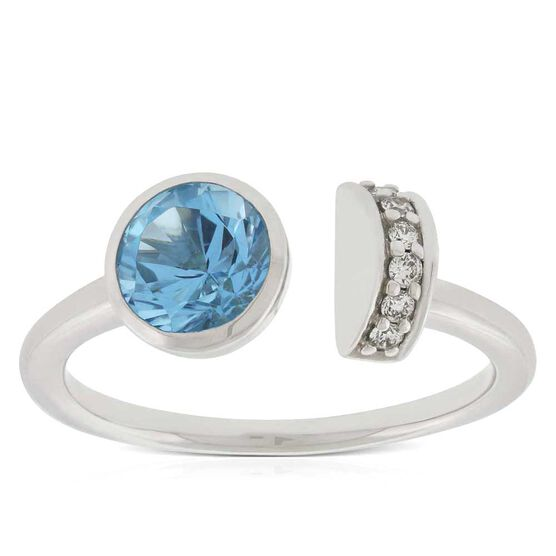 Blue Topaz & Diamond Open Shank Ring 14K