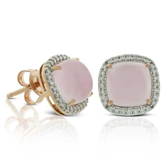 Cabochon Rose Quartz & Diamond Earrings 14K