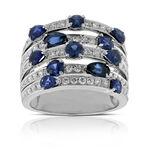 Sapphire & Diamond Multi-Row Ring 14K