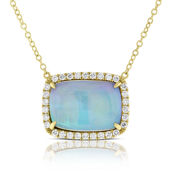Opal and Diamond Necklace 14K