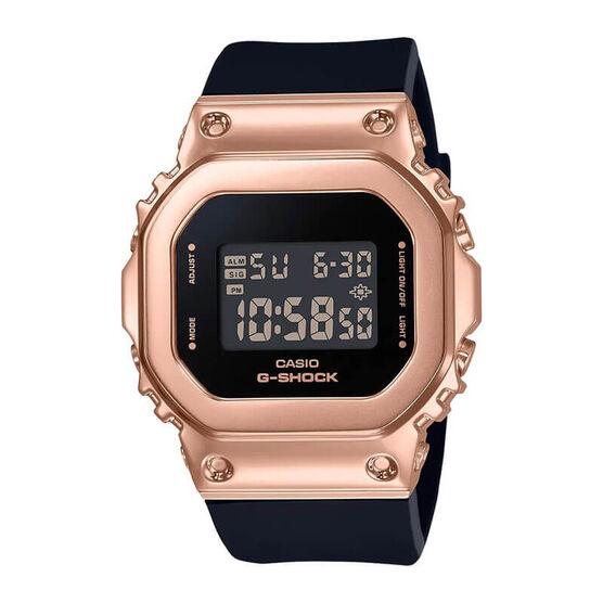 G-Shock Rose Plated Black Strap Rectangular Watch, 43.8mm