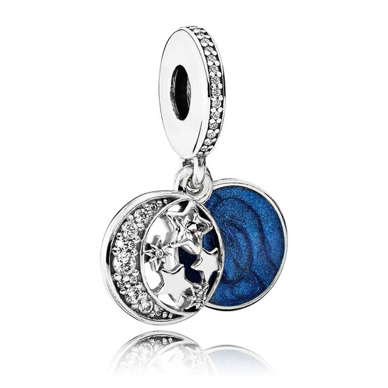 Pandora Vintage Night Sky Dangle Charm, Enamel & Clear CZ