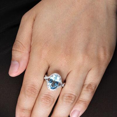 Sky Blue Topaz & Halo Diamond Ring 14K