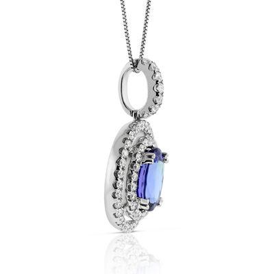 Double Halo Tanzanite & Diamond Pendant 14K