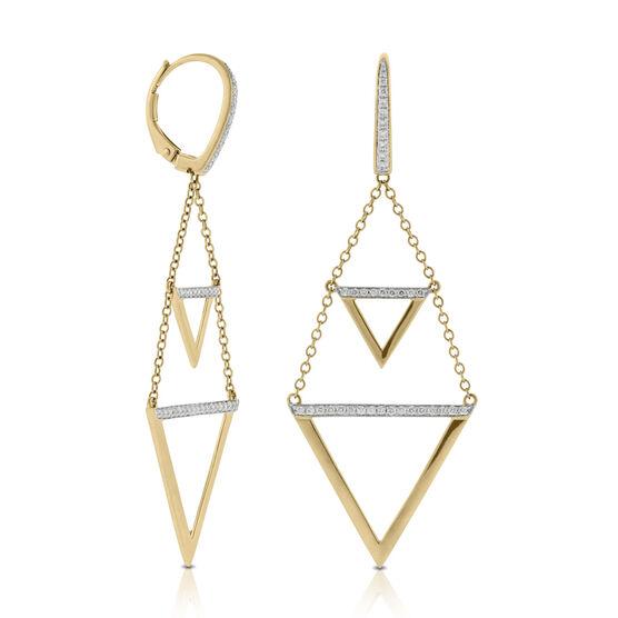 Triangle Drop Diamond Earrings 14K