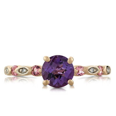 Rose Gold Amethyst, Diamond & Tourmaline Ring 14K