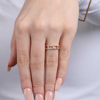 Diamond Chain Link Ring 14K