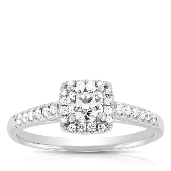 Signature Forevermark Cushion Cut Diamond Ring 18K