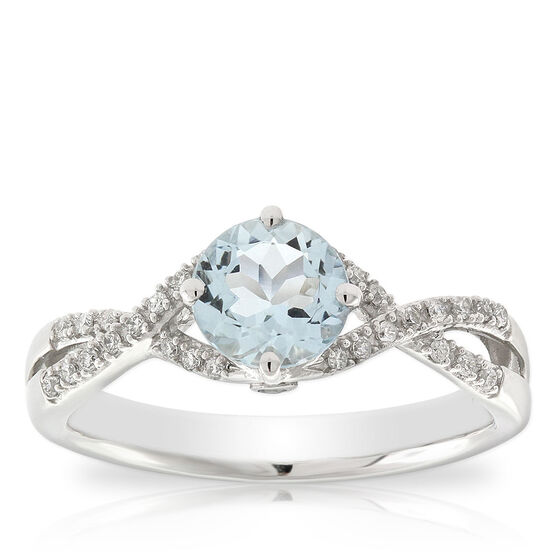 Aquamarine & Diamond Twist Ring 14K