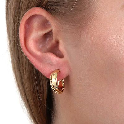 Toscano Crossover Hoop Earrings 14K
