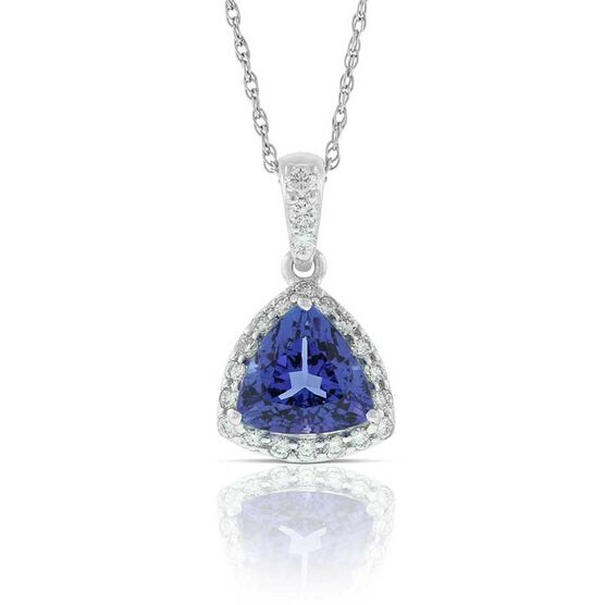 Trillion Cut Tanzanite & Diamond Halo Necklace 14K