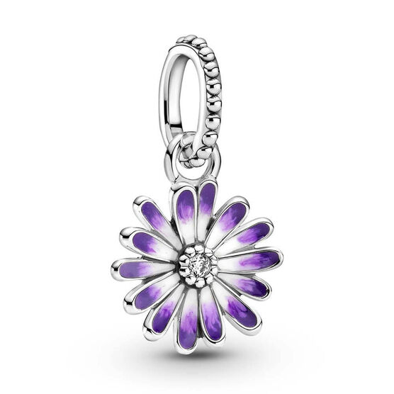 Pandora Purple Daisy Enamel & CZ Dangle Charm