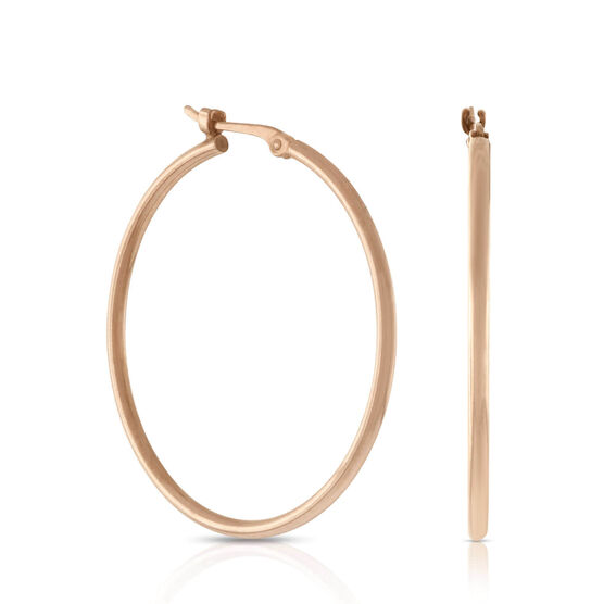 Rose Gold Hoop Earrings 14K
