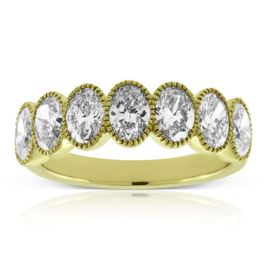 Bezel Set Oval Cut  Diamond Ring 14K