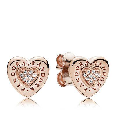 Pandora Rose Signature Heart Cz Stud Earrings