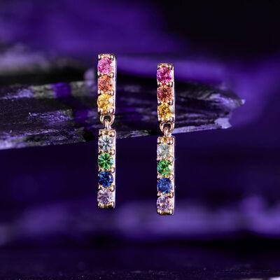 Rainbow Sapphire & Tsavorite Garnet Dangle Bar Earrings 14K
