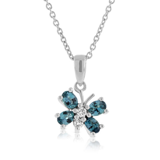 Alexandrite & Diamond Butterfly Pendant 14K
