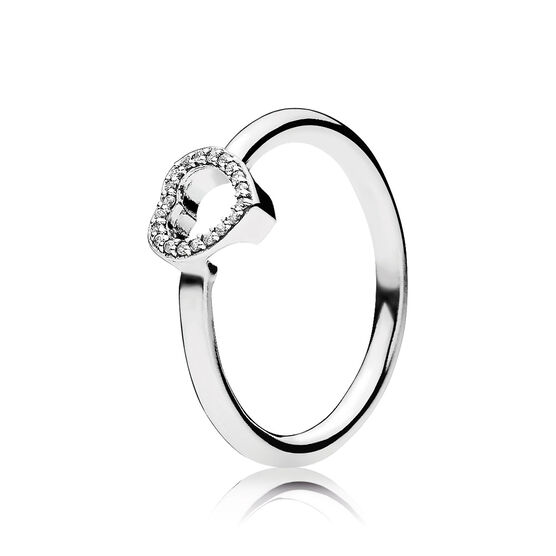 PANDORA Puzzle Heart Frame CZ Ring