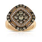 Rose Gold Brown & White Diamond Ring 14K