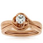 Rose Gold Diamond Wedding Set 14K