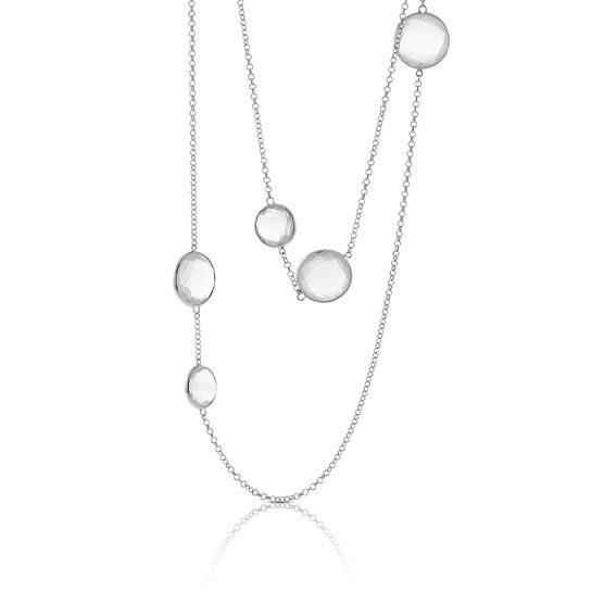 White Quartz Station Necklace in Sterling Silver