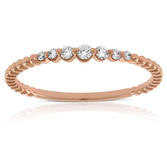 Rose Gold Stackable Diamond Band 14K