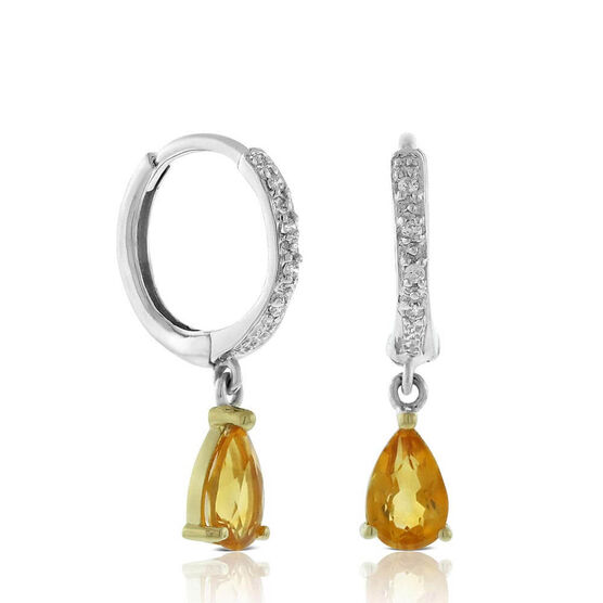 Two-Tone Pear-Shaped Citrine & Diamond Earrings 14K