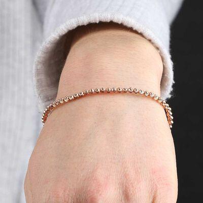 Rose Gold Stretchy Moon-Cut Bead Bracelet 14K