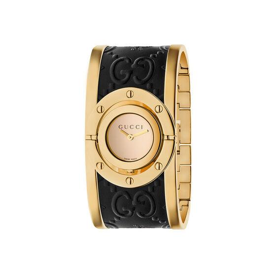 Gucci TWIRL Black Leather Watch