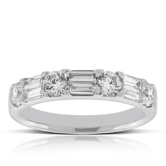 Baguette & Round Cut Diamond Wedding Band 14K