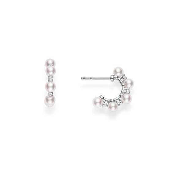 Mikimoto Akoya Cultured Pearl & Diamond Bubbles Earrings 18K