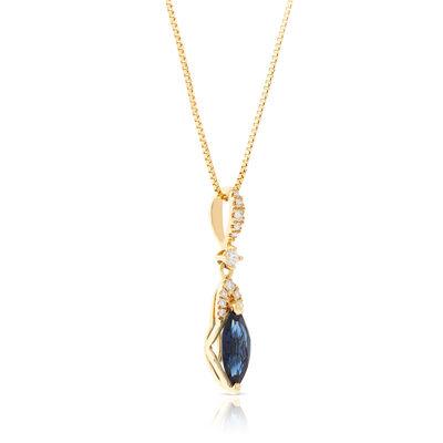 Marquise Sapphire & Diamond Necklace 14K