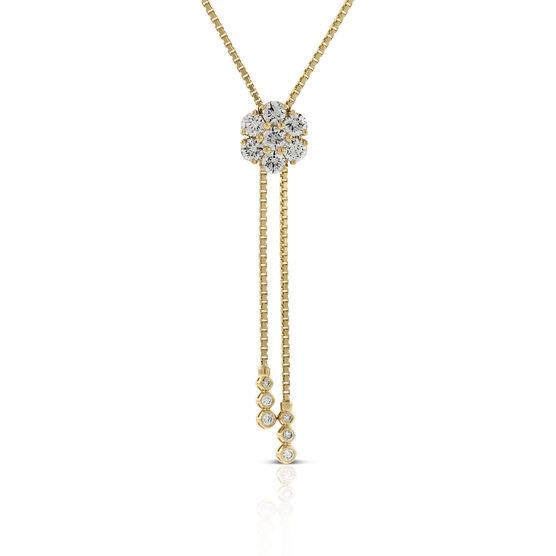 Diamond Cluster Bolo Necklace 14K, 1.50 ctw.