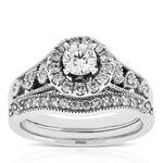 Halo Diamond Wedding Set 14K