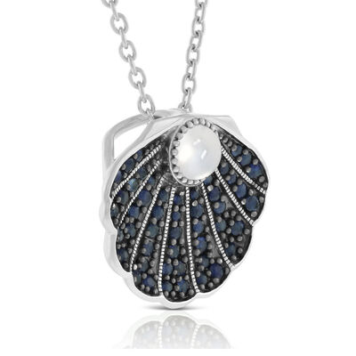 Lisa Bridge Sapphire & Moonstone Clam Shell Necklace