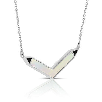 Lisa Bridge Mother of Pearl & Onyx Chevron Necklace