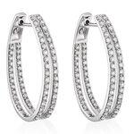 Double Hoop Diamond Earrings 14K