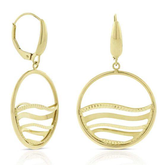 Toscano Open Circle Wave Earrings 14K