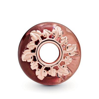 Pandora Rose™ Pandora Wonderland Pink Murano Glass & Leaves Charm