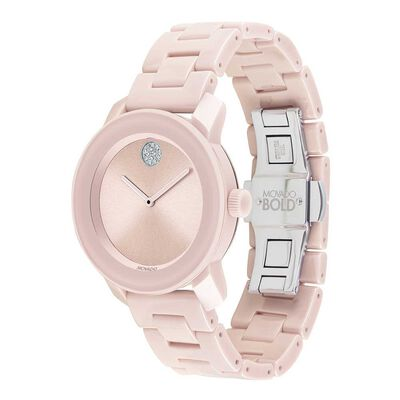 Movado Bold Pink Crystal, Ceramic, & Steel Watch