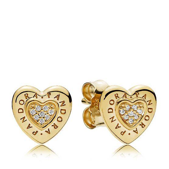 PANDORA Signature Heart CZ Stud Earrings, PANDORA Shine™