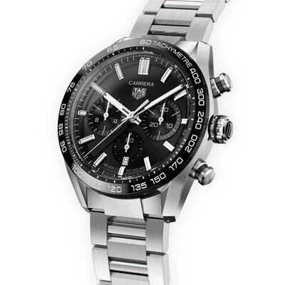 TAG Heuer Carrera Heuer 02 Black Dial & Bezel Chronograph Watch, 44mm