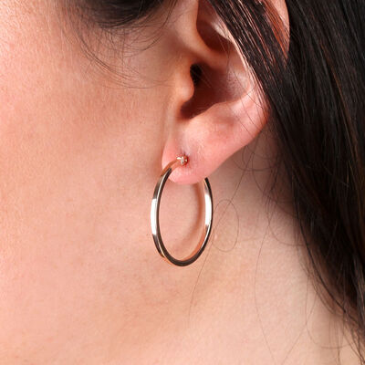 Rose Gold Square Tube Hoop Earrings 14K