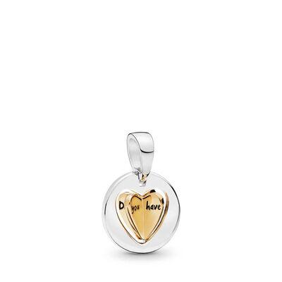 PANDORA Shine™ & Silver,  Mom's Golden Heart Dangle Charm
