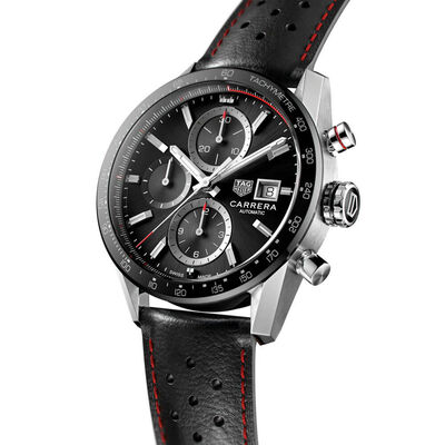 TAG Heuer Carrera Calibre 16 Leather Chronograph Watch, 41mm