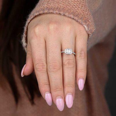 Emerald Cut Diamond Halo Engagement Ring 14K